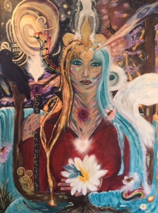 """chariclo lily: sacred pathways"" by wise owl Christine.  in mythology, chariclo, also a centaur, is said to be the wife of chiron."