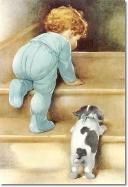 A Mother Leading Her Small Child Step By Step Up The Stairs