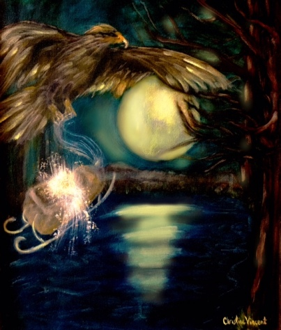 """THE MOON SHINING ACROSS A LAKE AND A SLEIGH WITHOUT SNOW"" BY WISE OWL CHRISTINE VINCENT"