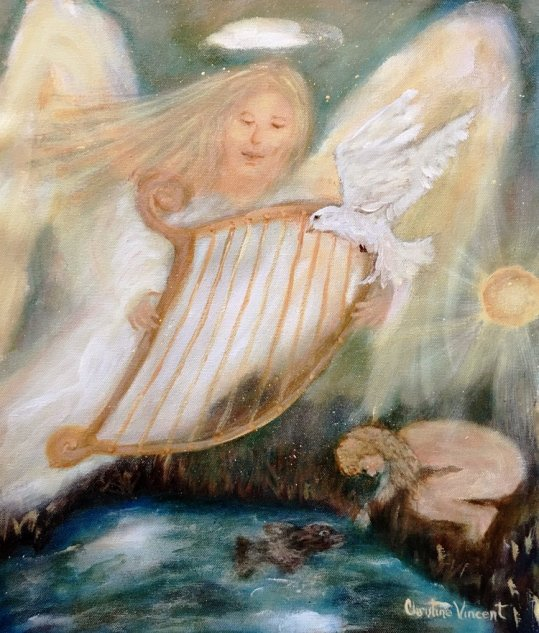 """9 CAPRICORN - AN ANGEL CARRYING A HARP / 9 CANCER - A SMALL NAKED GIRL BENDS OVER A POND TRYING TO CATCH A FISH"" BY WISE OWL CHRISTINE VINCENT"