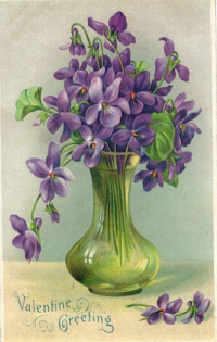 An Ancient Pottery Bowl Filled With Violets