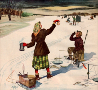 In Winter People Are Cutting Ice From A Frozen Pond For Summer Use