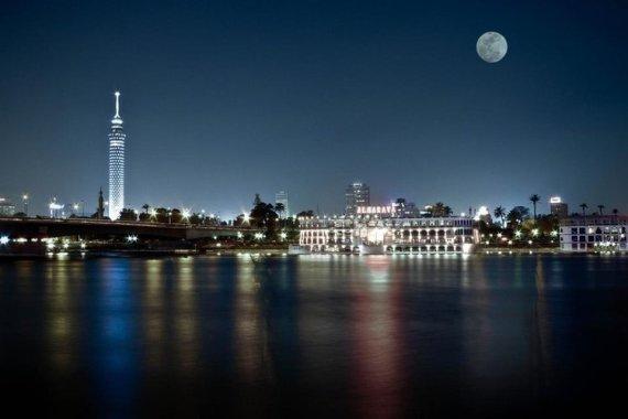 full moon over Cairo